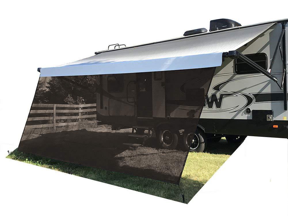 Tentproinc RV Awning Sun Shade Screen 8' X 11'3'' - Brown Mesh Sunshade UV Blocker Complete Kits Motorhome Camping Trailer Canopy Shelter - 3 Years Limited Warranty