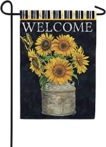 Custom Decor Sunflower Stripes Welcome - Garden Size, Decorative Double Sided, Licensed and Copyrighted Flag - Printed in The USA Inc. - 12 Inch X 18 Inch Approx. Size