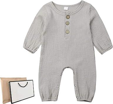 Mameluco iBccly para recién nacido, de algodón y lino, de manga larga, de una sola pieza - - 6-12 meses: Amazon.es: Ropa y accesorios