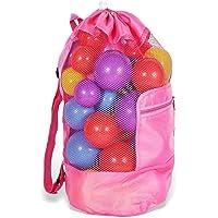 Bolsa Juguetes Playa, Plegable Bolsa de Playa de Malla con Cordón para Niños Juguetes de Almacenamiento (Rojo)