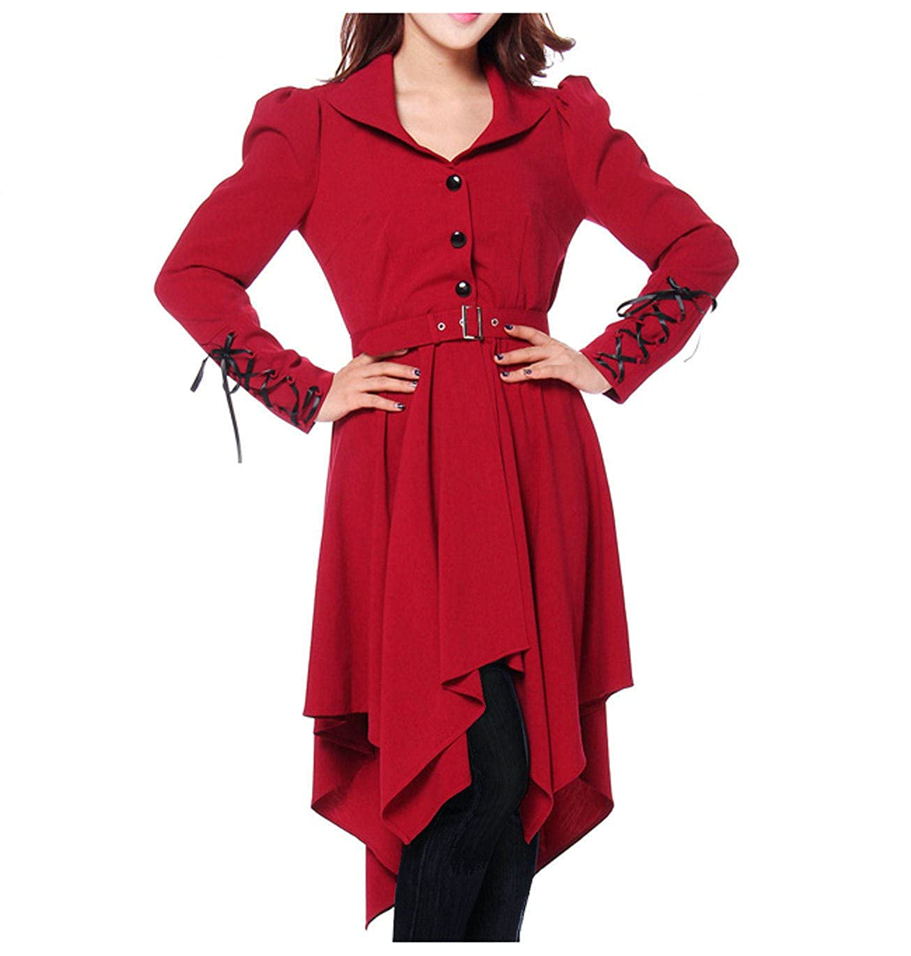 Pirate Inspired Long Red Fitted Asymmetric Belted Coat - DeluxeAdultCostumes.com