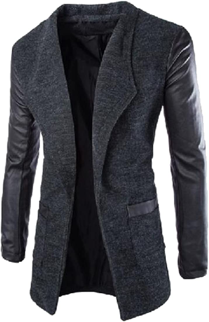 Oberora Mens Winter Leather Sleeves Lapel Collar Trench Coat Outwear