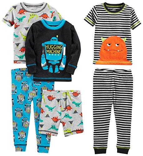 Boys Cotton Pjs (Simple Joys by Carter's Baby Boys' 6-Piece Snug Fit Cotton Pajama Set, Monster/Dino, 18)
