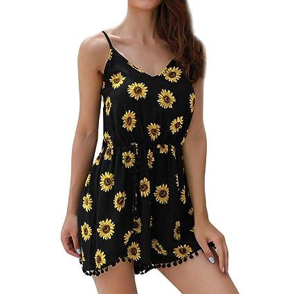 4025dfe7a15 Amazon.com  Fashion Women Sunflower Tassels Cami Shorts Sleeveless ...