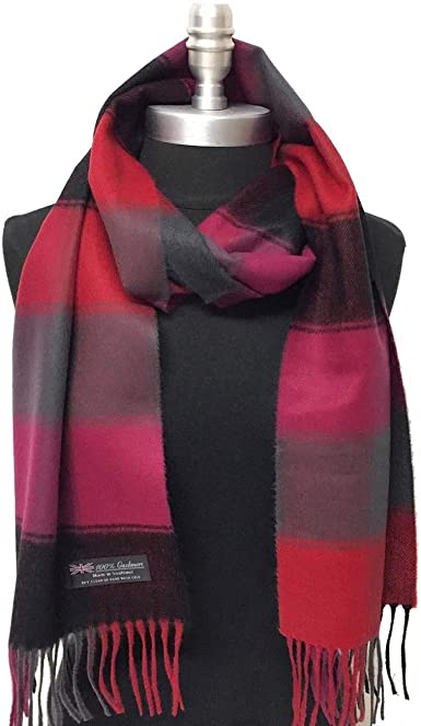 Black//Gray//Red New 100/%CASHMERE SCARF MADE IN SCOTLAND PLAID DESIGN SOFT UNISEX