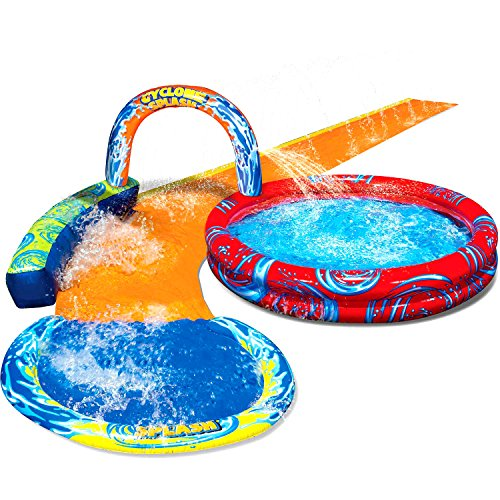 Kids-Inflatable-Splash-Park Big Kiddie Blow Up Above Ground Long WaterSlide and Aqua Pool is Great for Toddlers, Children, Boys, Girls, Sprinkler to Have Outdoor Water Fun W/All Family (Cyclone)