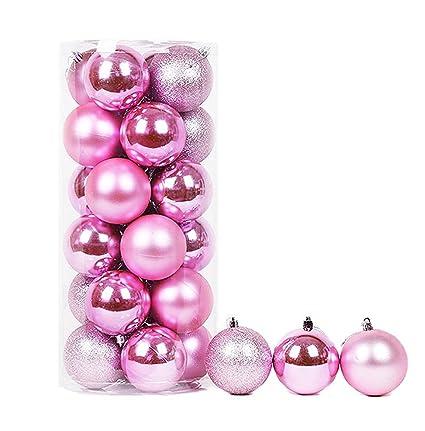 Pink Christmas Ornaments.Vivian Round Christmas Balls Baubles Xmas Tree Hanging Decorations Ornaments Pack Of 24 Pcs Pink
