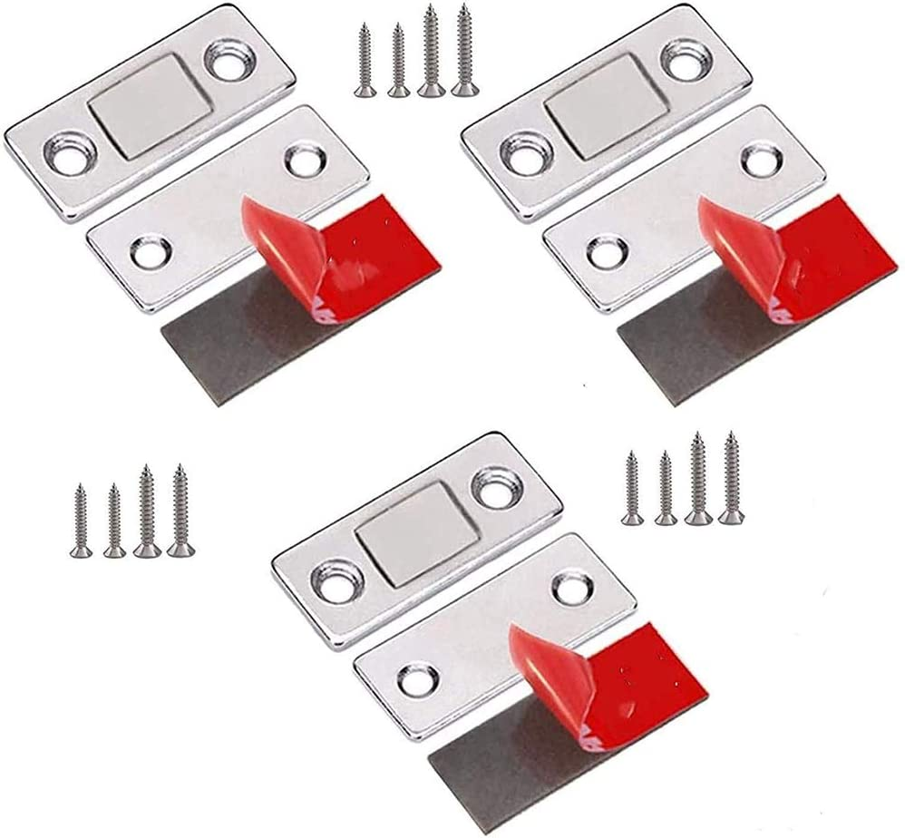 3Pcs Punch-Free Magnetic Door Closer,Ultra Thin Adhesive Drawer Magnets Catches,for Kitchen Cupboard Magnet Latch Closure Small Wardrobe Sliding Door Closet Magnetic Catches Sticky
