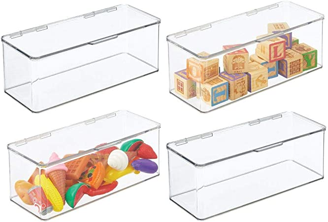 mDesign Juego de 4 organizadores de juguetes – Juguetero grande con tapa de plástico robusto – Caja organizadora apilable para guardar juguetes y manualidades – 14,6 x 34,0 x 12,7 cm – transparente: Amazon.es: Hogar