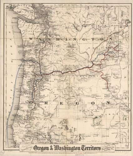 1880 Map Coltons Township Map Of Oregon   Washington Territory  Issued By The Oregon Railway And Navigation Co  Shows Relief By Hachures  Drainage  Cities And Towns  Township And County Boundaries  I