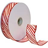 Morex Ribbon Peppermint Stripe Wired Ribbon, 1-1/2-Inch by 50-Yard Spool, Red/White