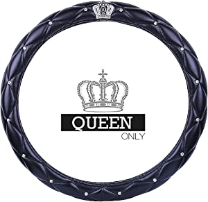 "Queen's Auto Steering Wheel Cover with Noble Crown + Bling Diamond + Exquisite Lattice Design + Soft Leather Stylish + Elegant Car Series Universal 15""/38cm (QUEEN ONLY)"