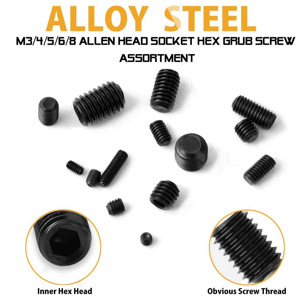 12.9 Class Alloy Steel Black VIGRUE 300Pcs M2.5//M3//M4//M5//M6//M8 Hex Allen Head Socket Set Screw Bolts Assortment Kit Grub Screw with Internal Hex Drive
