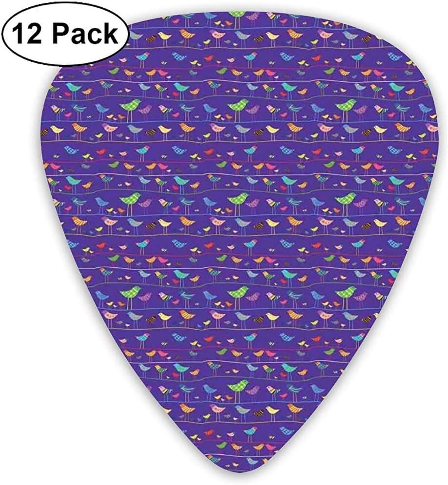 Púas de guitarra, paquete de 12, silueta de gorriones con patrón de puntos a rayas onduladas a cuadros encaramado en cuerdas