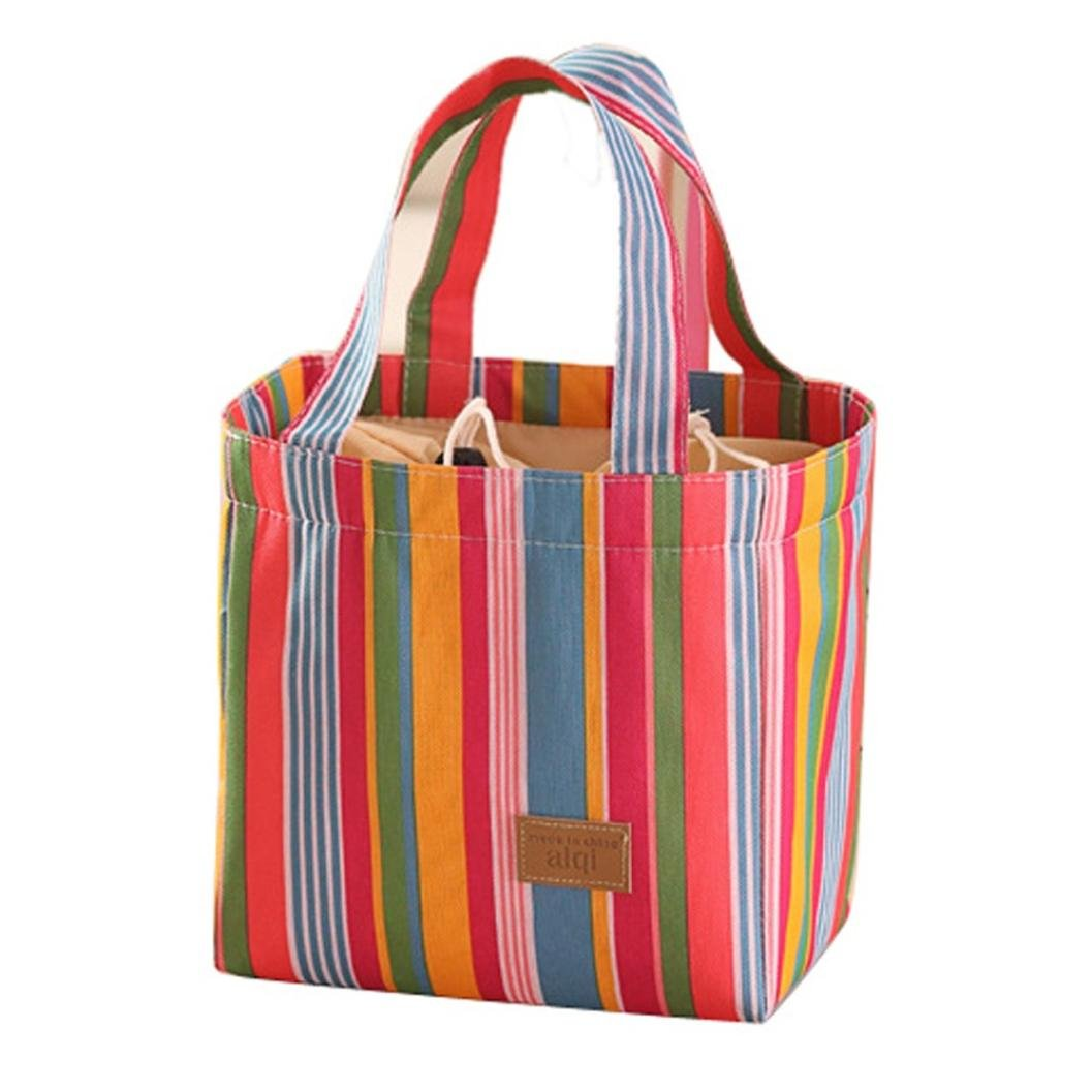 Lunch Bags,Gotd Lunch Tote Bag Lunch Bag Grocery Bags Travel Picnic Convenient Portable Lunch Packet, Colorful Stripe Inner Aluminum Foil Lunch Bag for Women Men Girls Boys (Red)