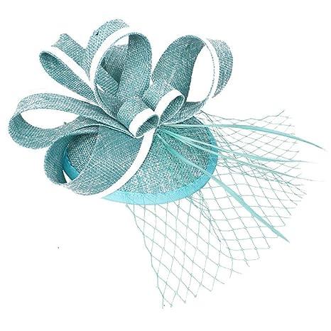Fascinators Hat Feather Headwear Elegante cappellino da cocktail per donna  Cappellini per Halloween Accessori per capelli 7523ab1cc019