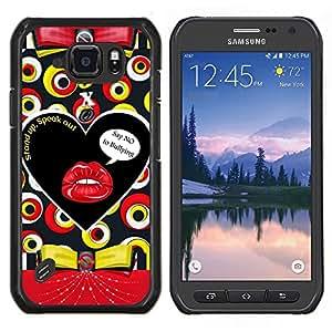 Caucho caso de Shell duro de la cubierta de accesorios de protección BY RAYDREAMMM - Samsung Galaxy S6Active Active G890A - Labios texto beso sensual Modelo abstracto