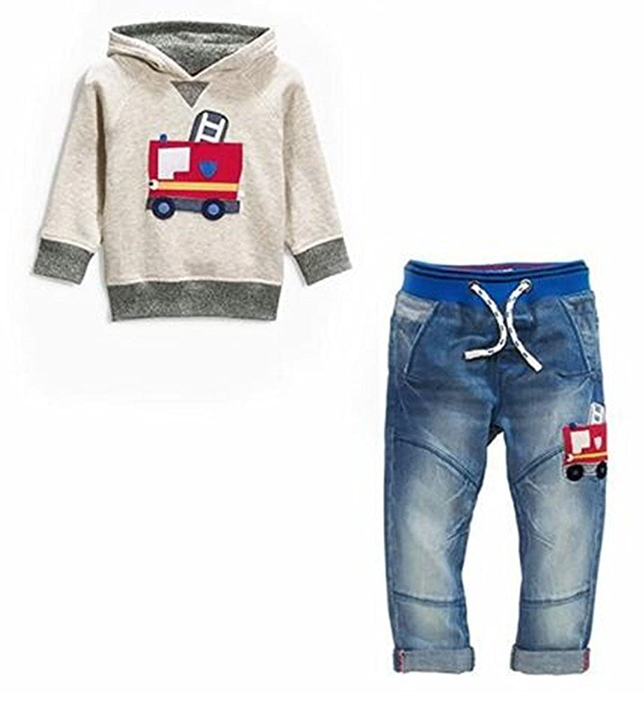 Miniowl Boys Clothes Fire Truck Print Hoodie Denim Jeans 2 Pcs Outfit Set 2T-7T