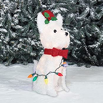 holiday 24 white fluffy led lighted dog with metal frame indooroutdoor christmas sculpture decoration