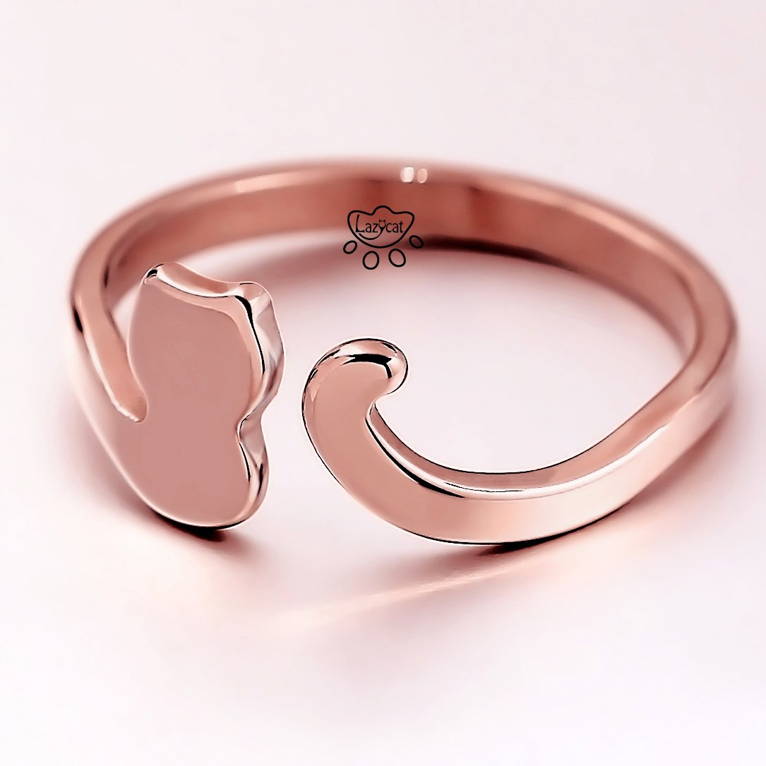 Amazon.com: Lazycat 18K Cute Stainless stee Rose gold Dragon Cat ...