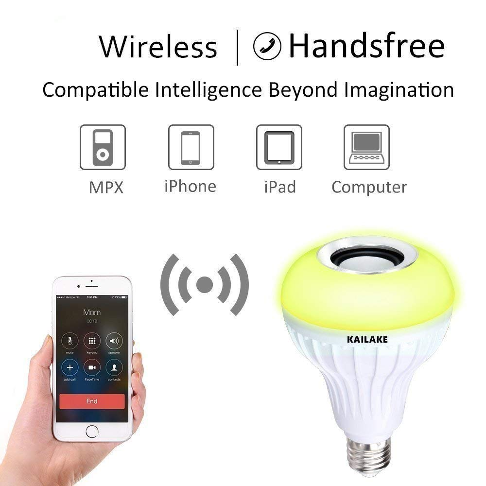 KAILAKE LED Wireless Light Bulb Speaker-RGB Sm Music 2018 New Design Instagram 5000+Likes with Stereo Audio Smart 7W E27 Changing Lam Lamp+24 Keys Remote Control by KAILAKE (Image #2)