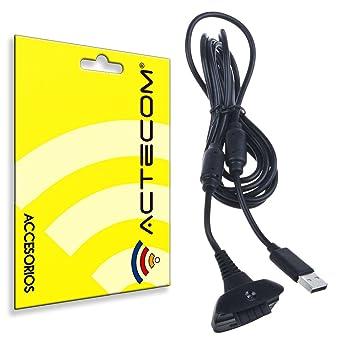 actecom® Cable DE Carga para Mando Y BATERIAS DE Xbox 360 USB Negro