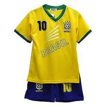 161d9d0afe3 BOYS FOOTBALL KIT SHORT SET BRAZIL YELLOW BLUE  BRAZIL (12-13 YEARS ...