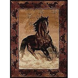"United Weavers Legends Area Rug 910-06930 Stallion Border 5' 3"" x 7' 2"", Rectangle, Black"