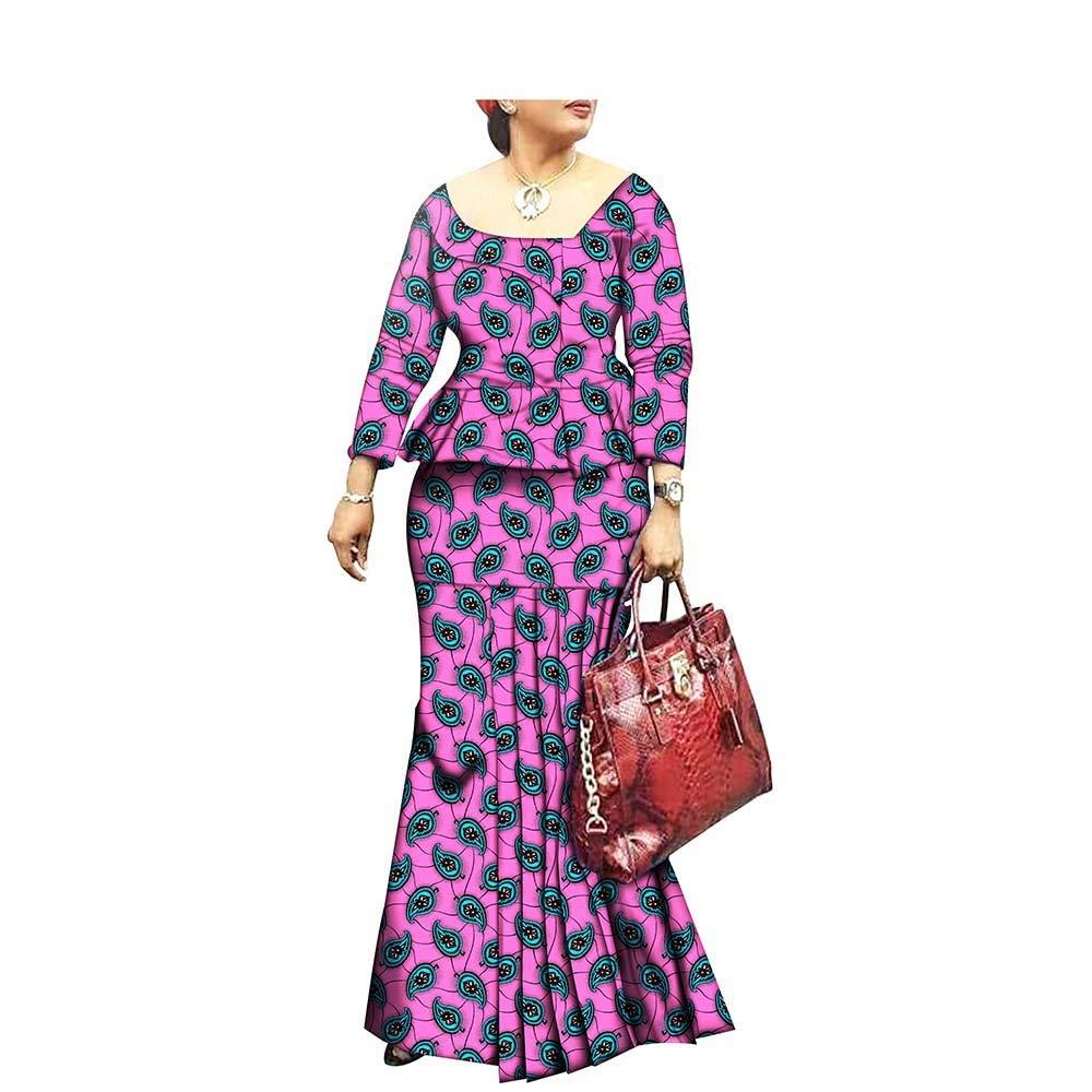 265x African Style 1Piece Long Maxi Dress for Lady Full Sleeve Pure Cotton Ankara Print Dashiki