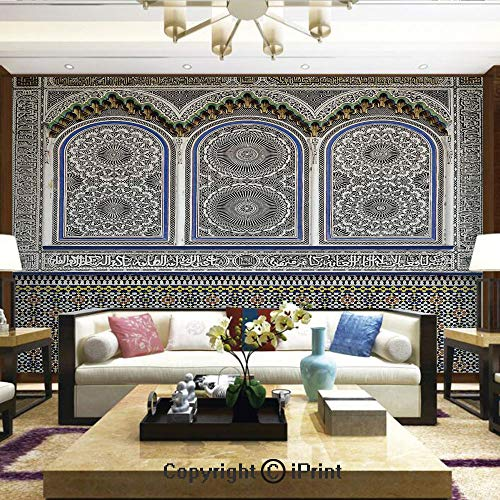 Lionpapa_mural Removable Wall Mural Ideal to Decorate Your Dining Room,Nostalgic Moroccan Architecture with Stone Carving and Motifs Majestic Ottoman Empire Artsy,Home Decor - 66x96 inches ()