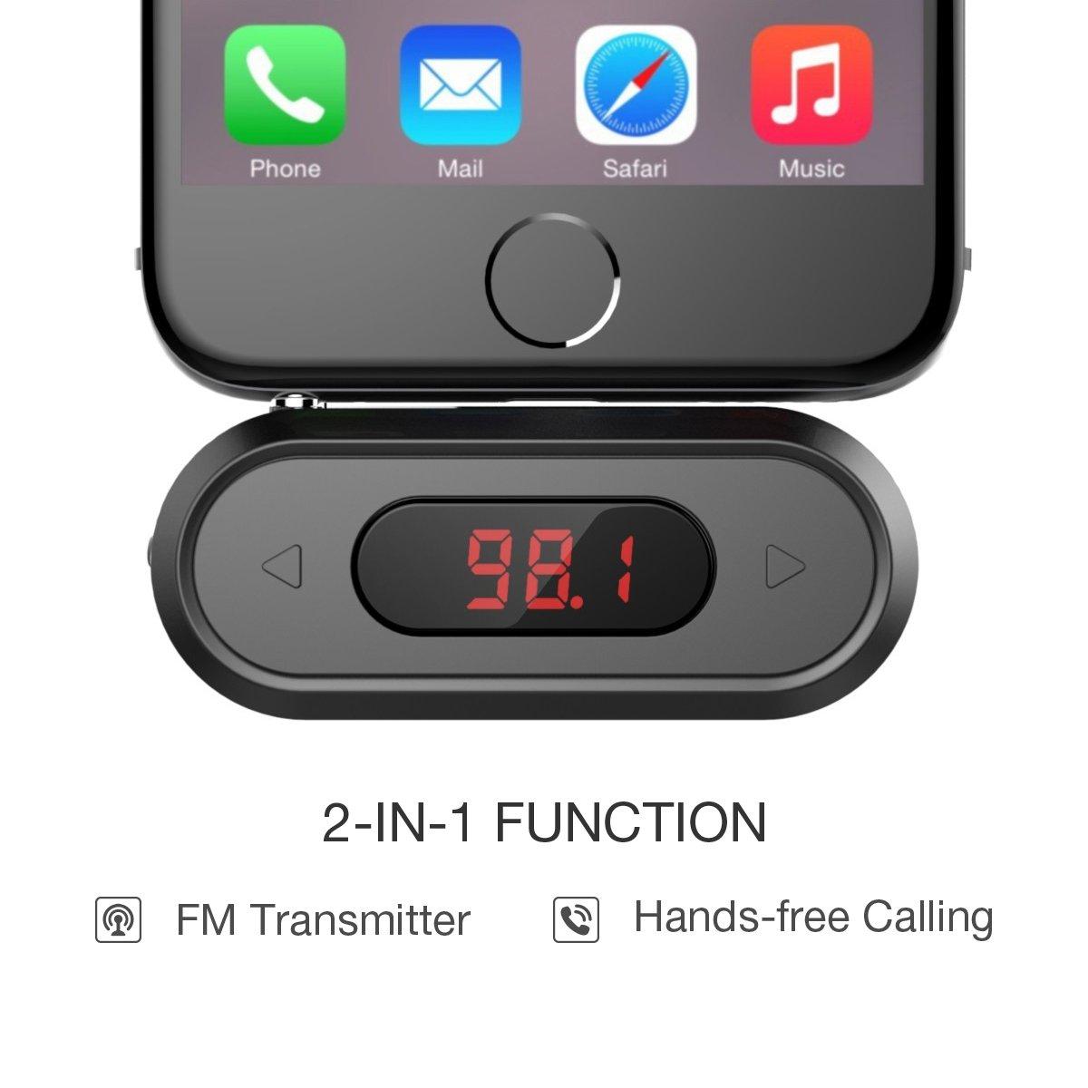 MP4 e maggior parte dei dispositivi con jack audio da 3.5mm iPad Samsung MP3 Trasmettitore FM Doosl/® 3,5 millimetri Trasmettitore FM chiamata vivavoce kit Bluetooth per autoradio compatibile con iPhone iPod HTC