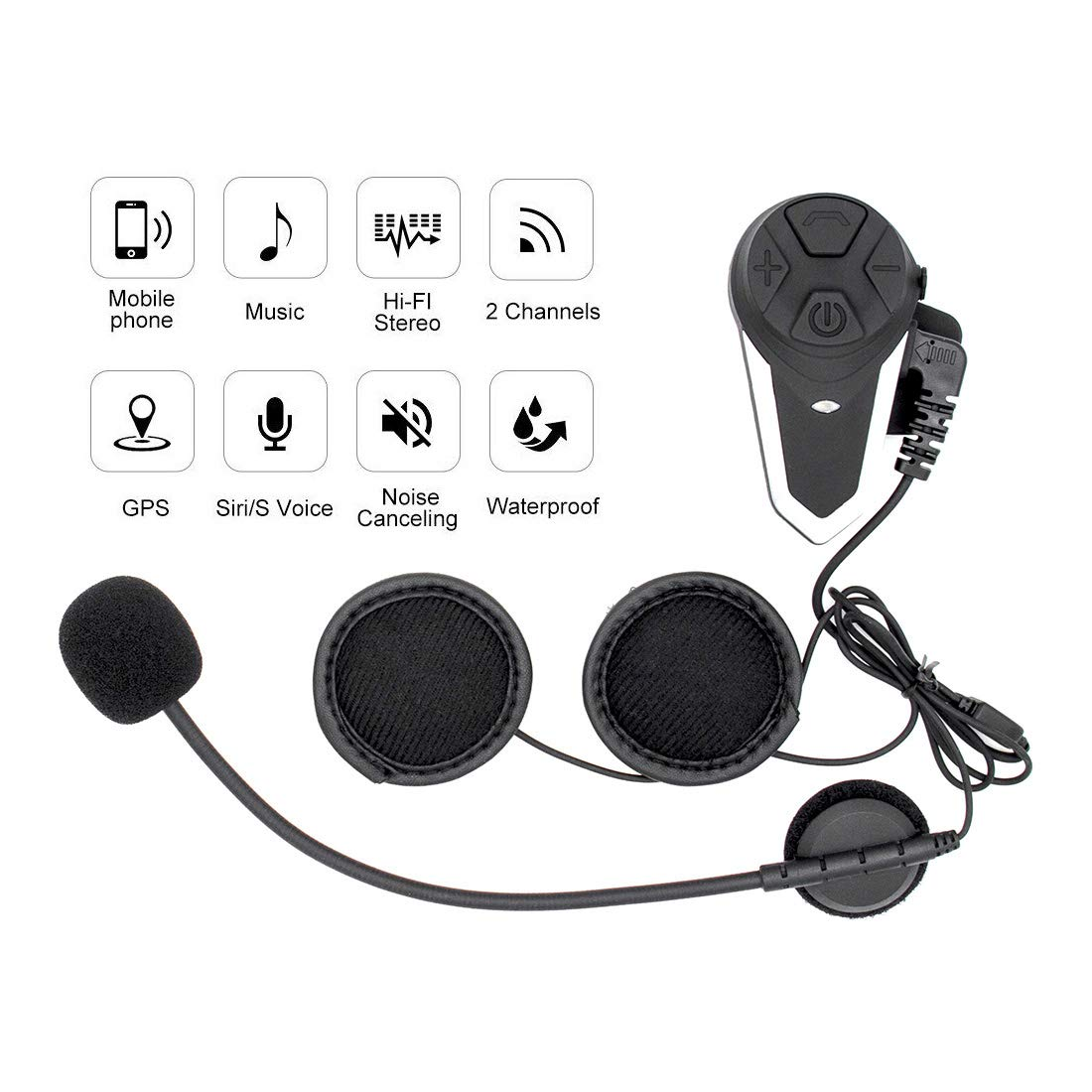ENCHICAS 1x BT-S3 Intercom Moto Bluetooth Oreillette 1000m Helmet Headset avec la Radio Kit Main Libre Moto