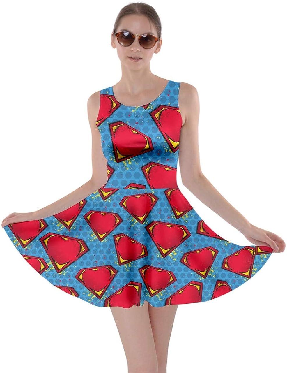 CowCow Womens Hand Draw Pattern Pop Art Thunder Super Cartoon Skater Dress, XS-5XL