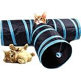 Cat Tunnel HYSUNG Tunnel di gioco pieghevole a 3 vie per animali domestici con Ringing Ball Fun Soft Tube Toy per Kitten Puppy and Rabbit