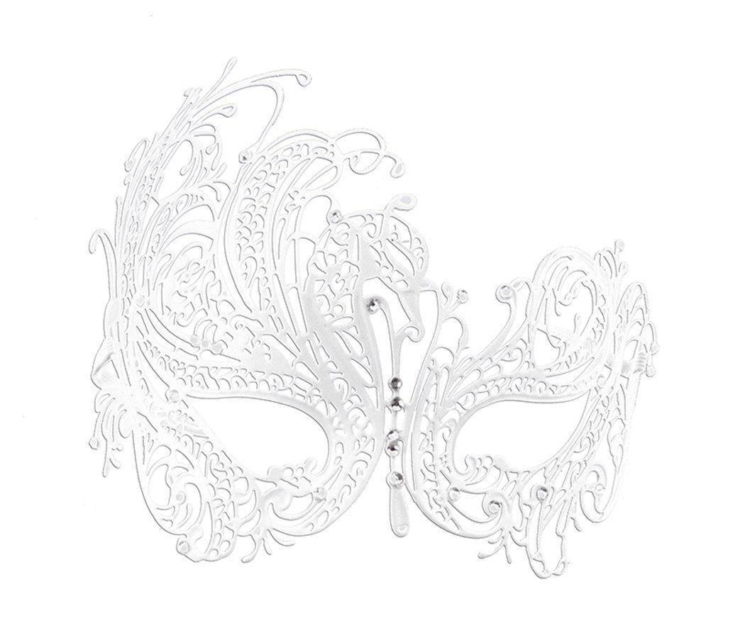 Coddsmz Delicate Glitter Metal Lady Masquerade Mask Halloween Mardi Gras Party Mask (White)