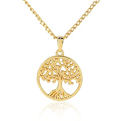ad033de9d4a KAVANI Gold Tree of Life Necklace Sterling Silver Disk Chain Round Pendant  Necklace Christmas for Women