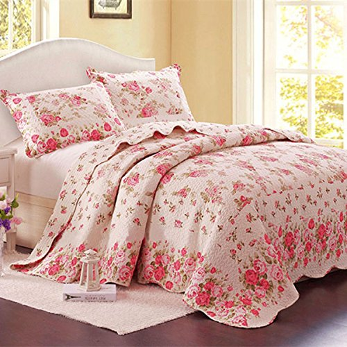Classic Cotton 3 Piece Reversible Pink Floral Bedspread/Quilt Sets,Full/Queen,Pink (Queen, Pink)