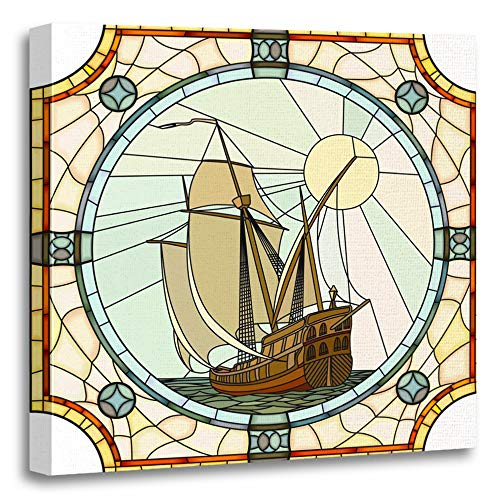 Emvency Painting Canvas Print Artwork Decorative Print Mosaic with Large Cells of Sailing Ships The 17Th Century in Round Stained Wooden Frame 16x16 inches Wall Art for Home Decor -