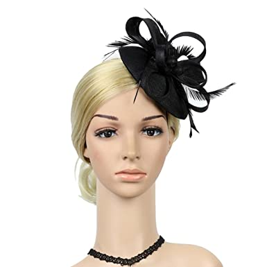 efe78cf948f3 Bovake Wedding Fascinator Pillbox Tea Party Hats ☆ Flower Penny Mesh Hat  Ribbons And Feather Veils Hat