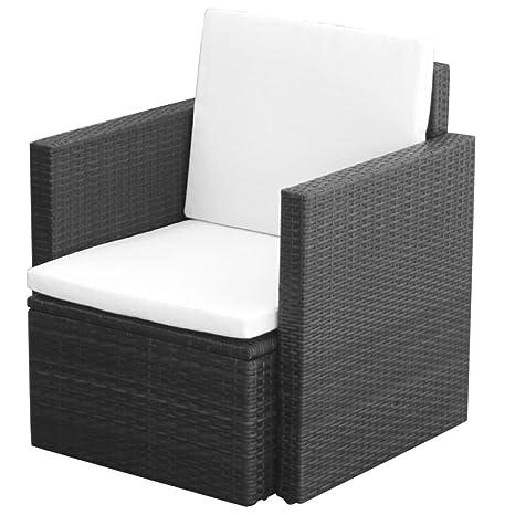 Patio de mimbre silla de mimbre negro jardín individual sofá ...