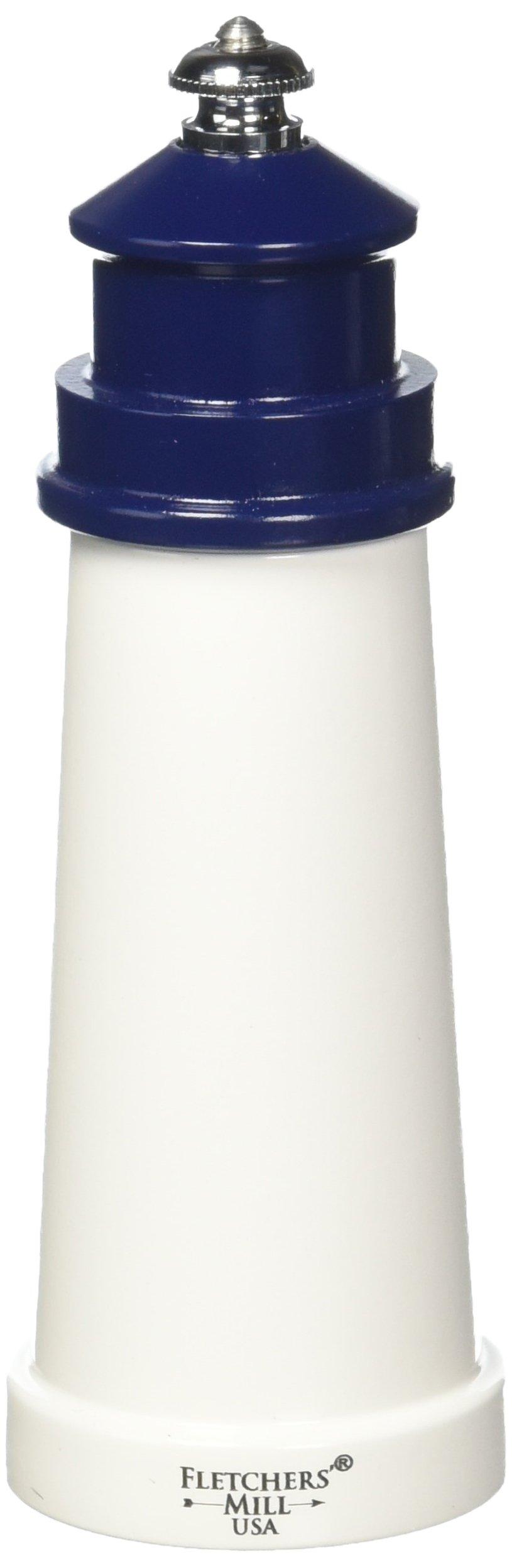 Fletchers' Mill Lighthouse Pepper Mill, White/Cobalt - 6 Inch