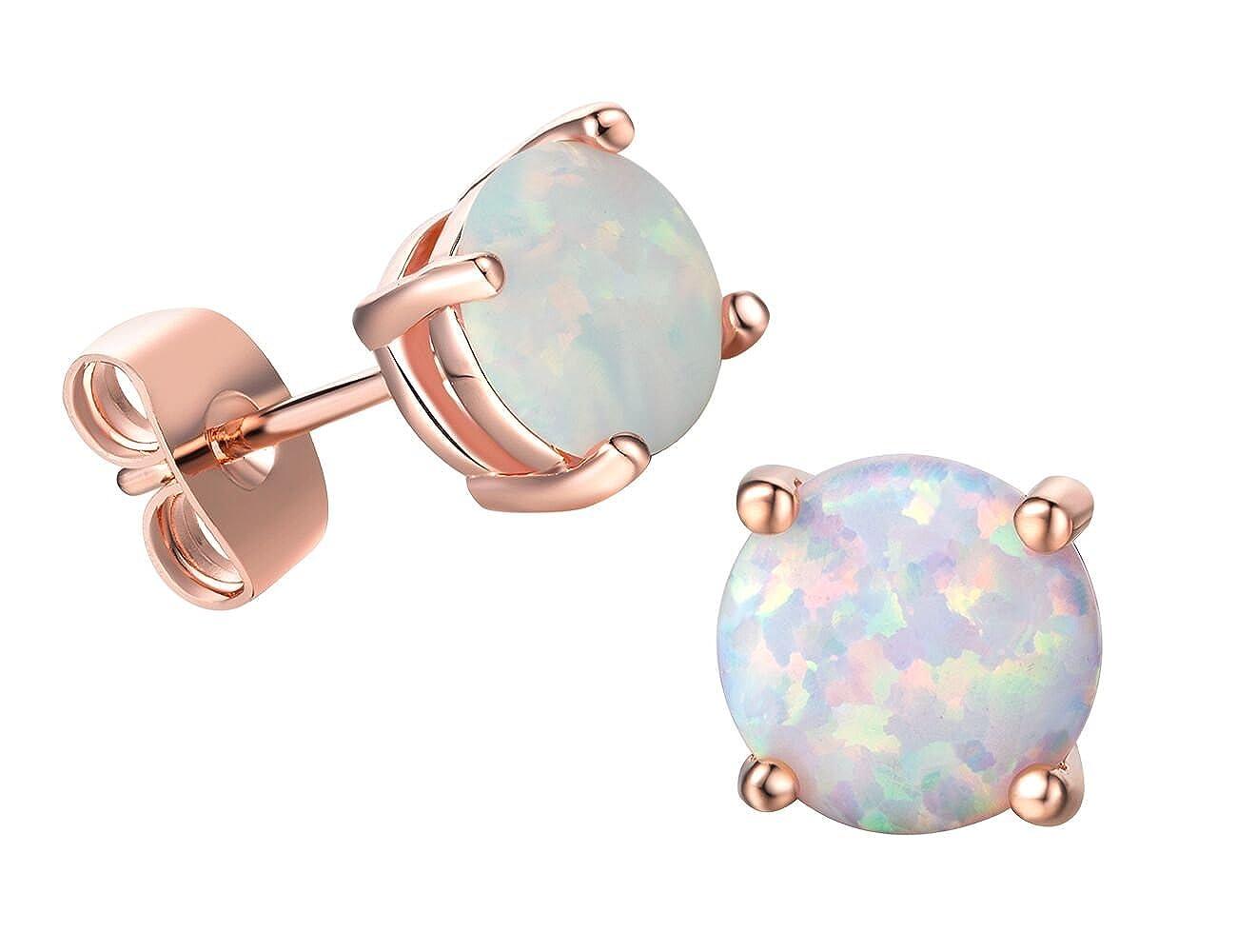 18K Rose Gold Plated Earrings Birthstone for Women Girls 8mm set Round Created Opal Stud Earrings Sets