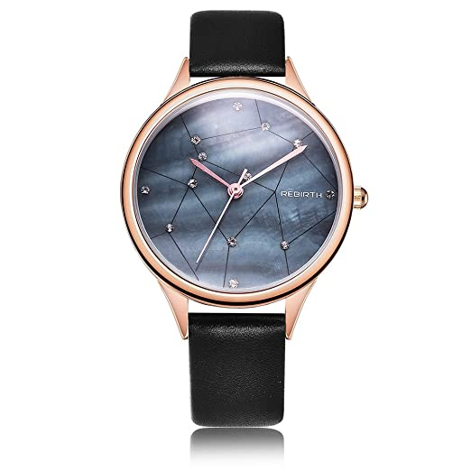 Rebirth Quartz Women Dress Watch Leather Band Luxury Fashion Ladies Watches.