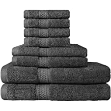 Premium 8 Piece Towel Set; 2 Bath Towels, 2 Hand Towels and 4 Washcloths - Cotton - Hotel Quality, Super Soft and Highly Absorbent by Utopia Towels (Grey)