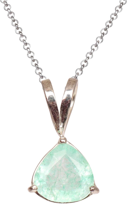 Gemhub - Colgante de Panna de esmeralda natural verde, plata de ley 925, colgante de esmeralda verde para hombres y mujeres