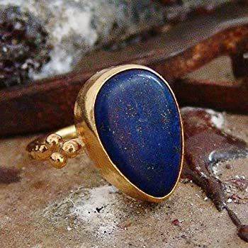 Anatolian Handcrafted Turkish Lapis Ring 24k Gold Over Sterling Silver By Omer Ancient Art Fine Jewelry