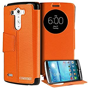 CoverBot LG G3 Slim Flip Case with Stand ORANGE. Folio Flip Cover with Quick Smart Circle Window Support for LG G3