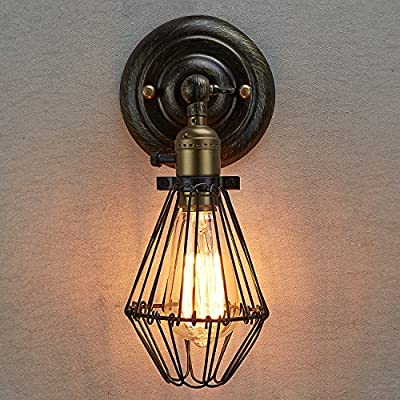 Ecopower Vintage Style Industrial Opening and Closing Light Wall Sconce Cage Lamp Guard--1 Pack