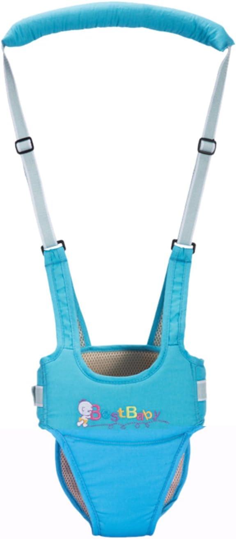 Happy Cherry - Arnés de Seguridad con Correa Andador Ajustable de Algodón Tirantes Cinta Aprender a Andar Primeros Pasos para Bebé Niños de 10-24 Meses, Azul
