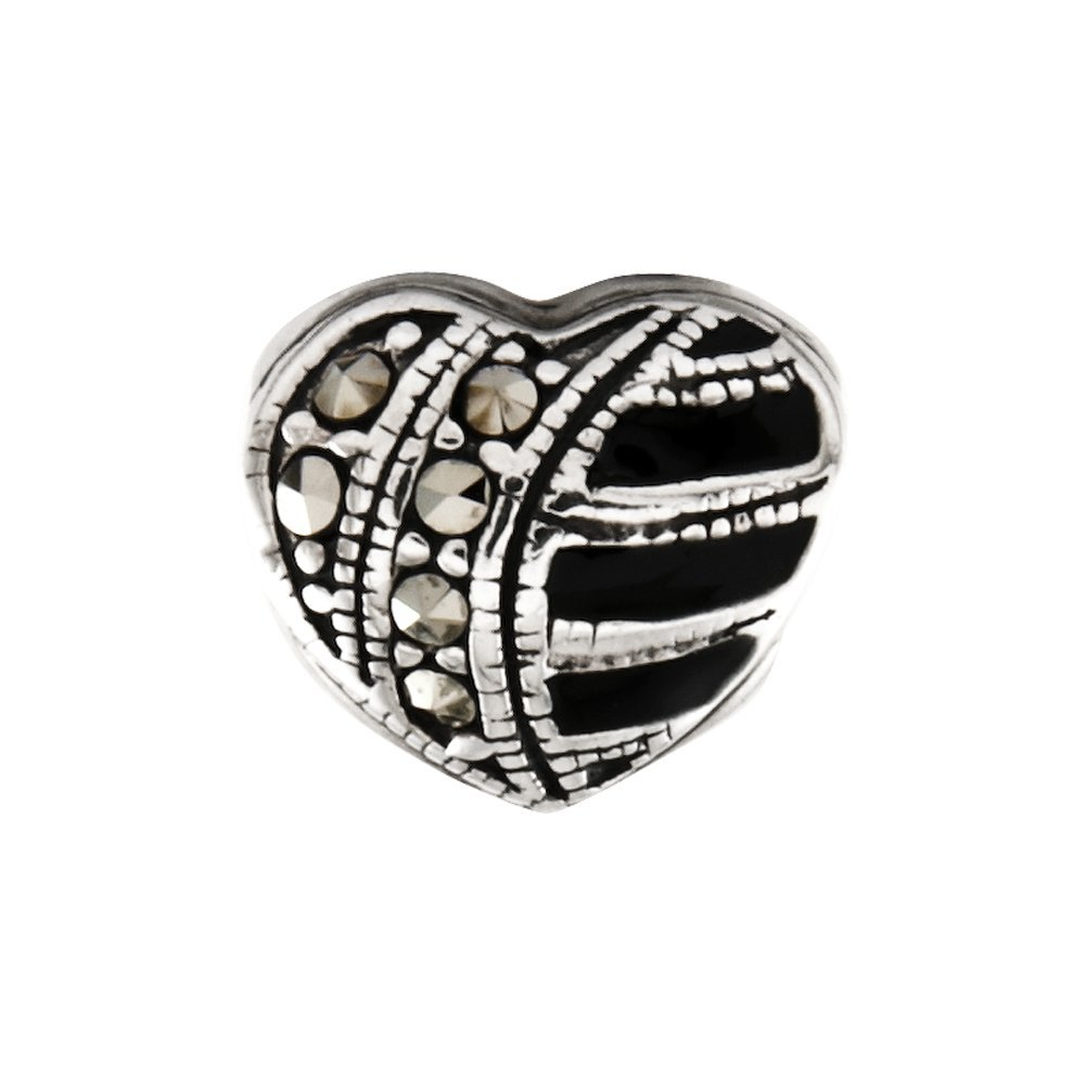 9.1mm x 8.2mm Solid 925 Sterling Silver Reflections Marcasite /& Enameled Heart Bead